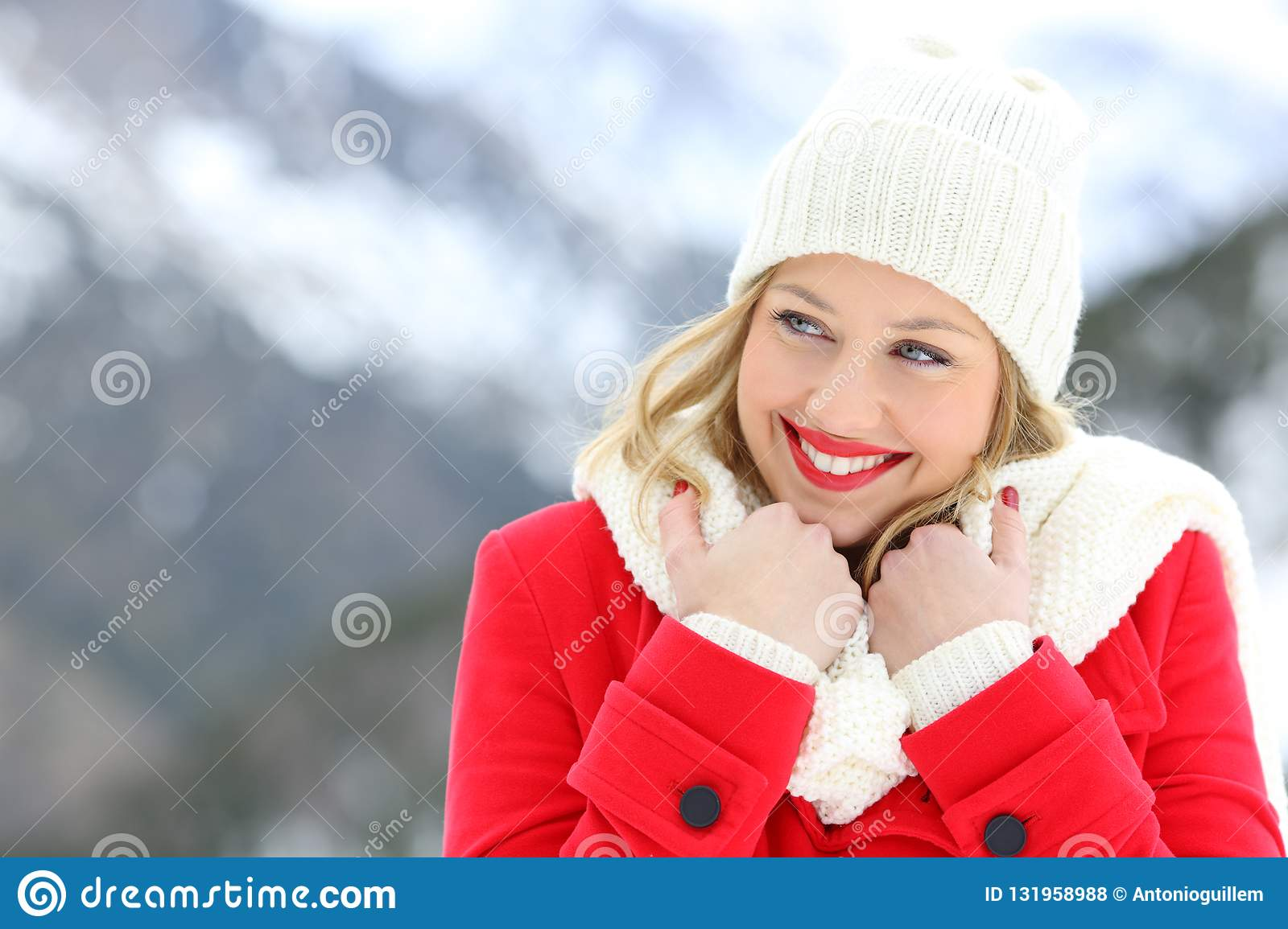 fd96930a3b26 Candid Woman Keeping Warm In Winter Holiday Stock Photo - Image of ...