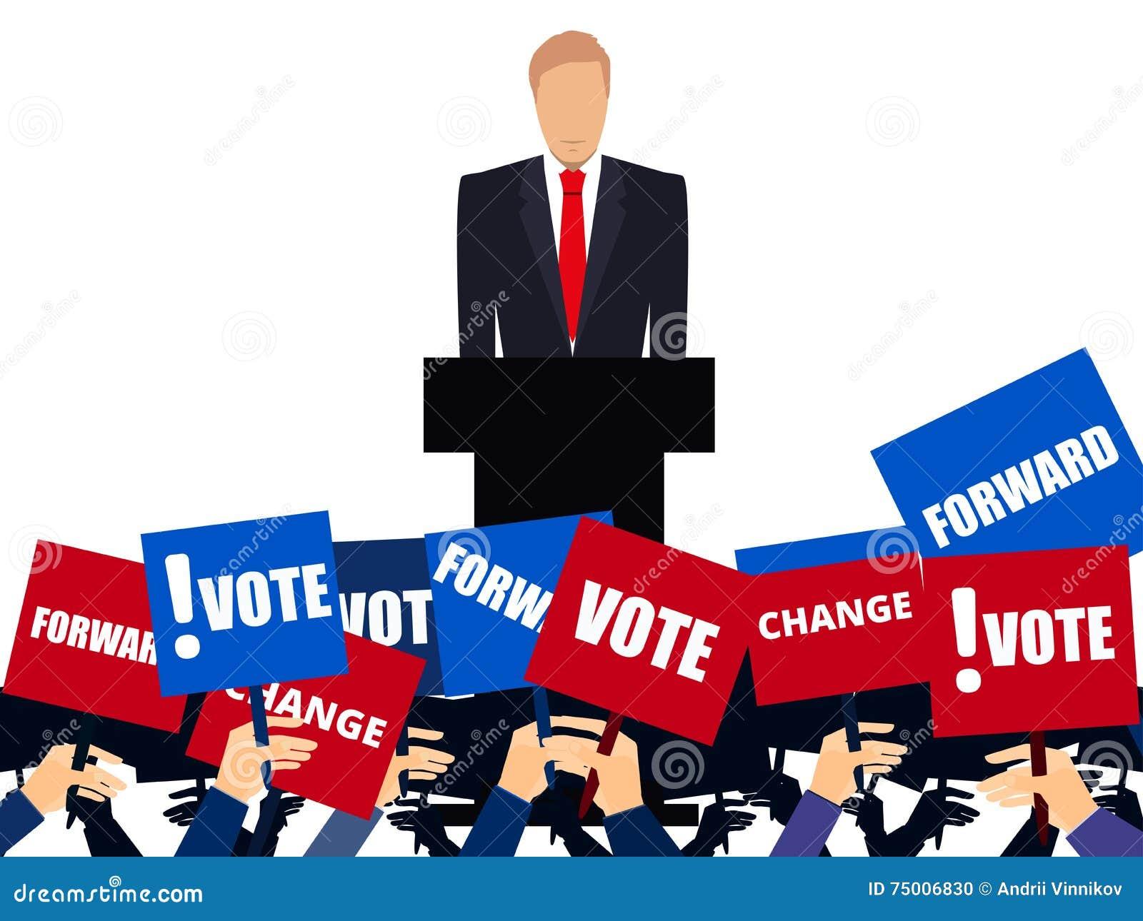 Candidato del partido implicado en el discusión Candidato presidencial Campaña electoral de  Discurso de la tribuna