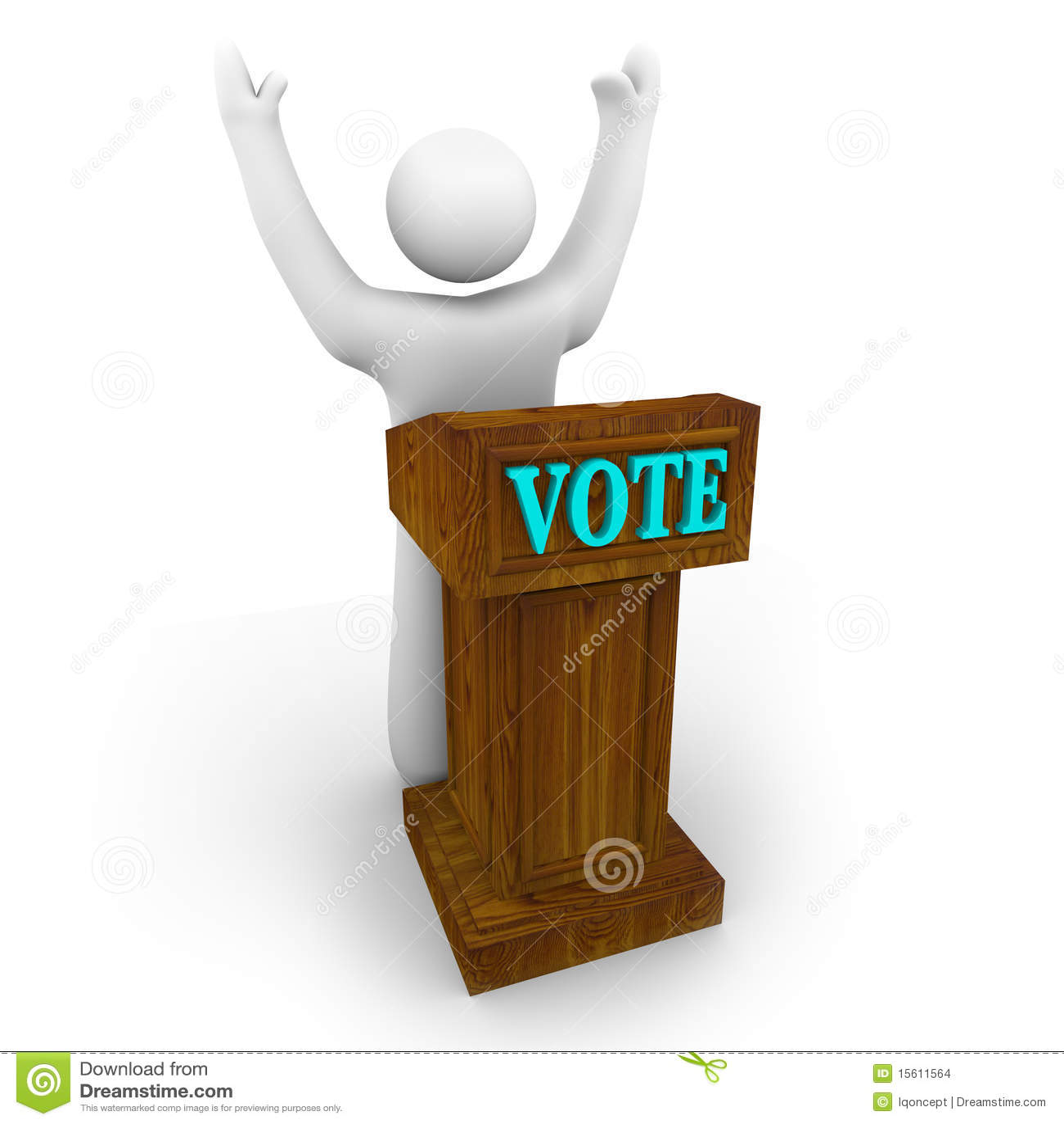 Candidato politico al podio