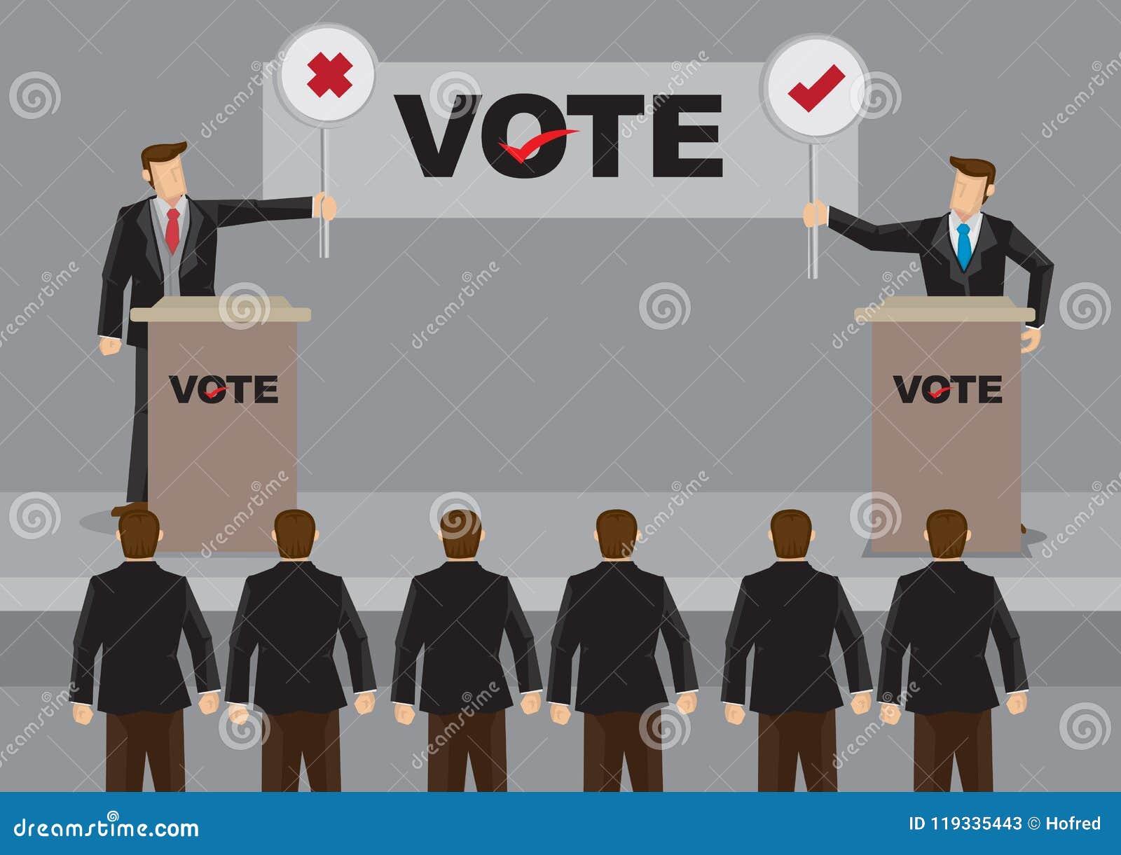 Candidatos no debate para a ilustração do vetor da eleição