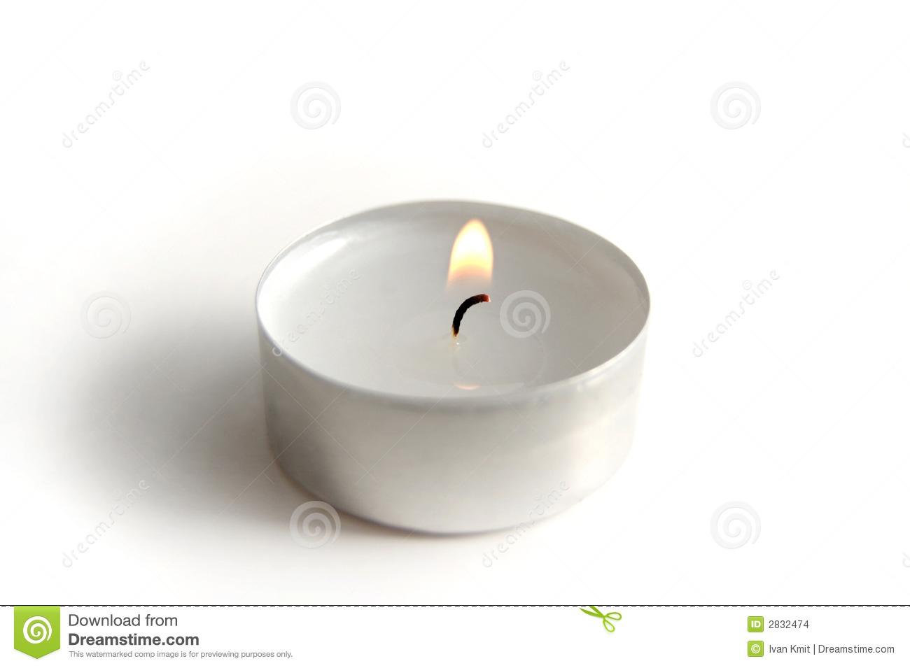 Small White Candle On A Background