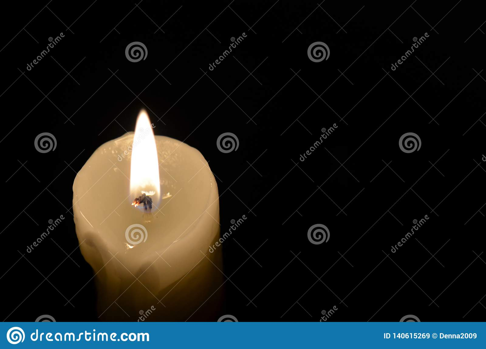 Rest In Peace Candle On The Black Background Stock Image