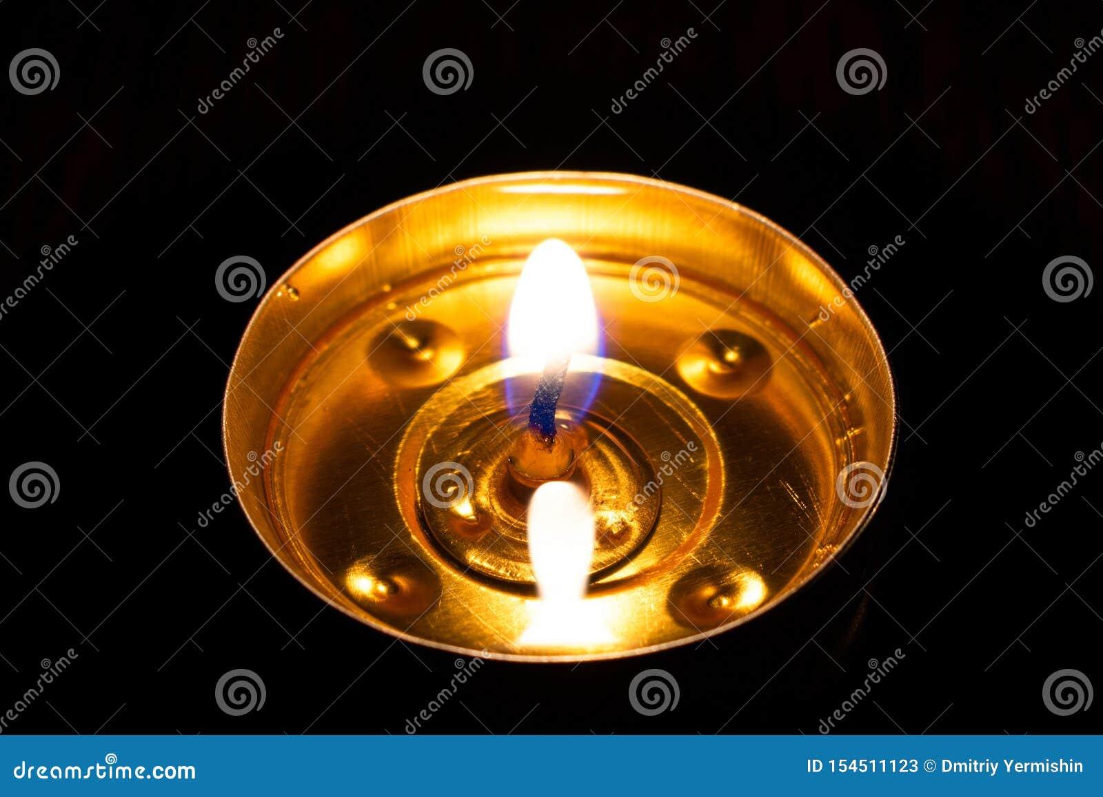 Candle Burning In The Black Background Stock Image - Image ...