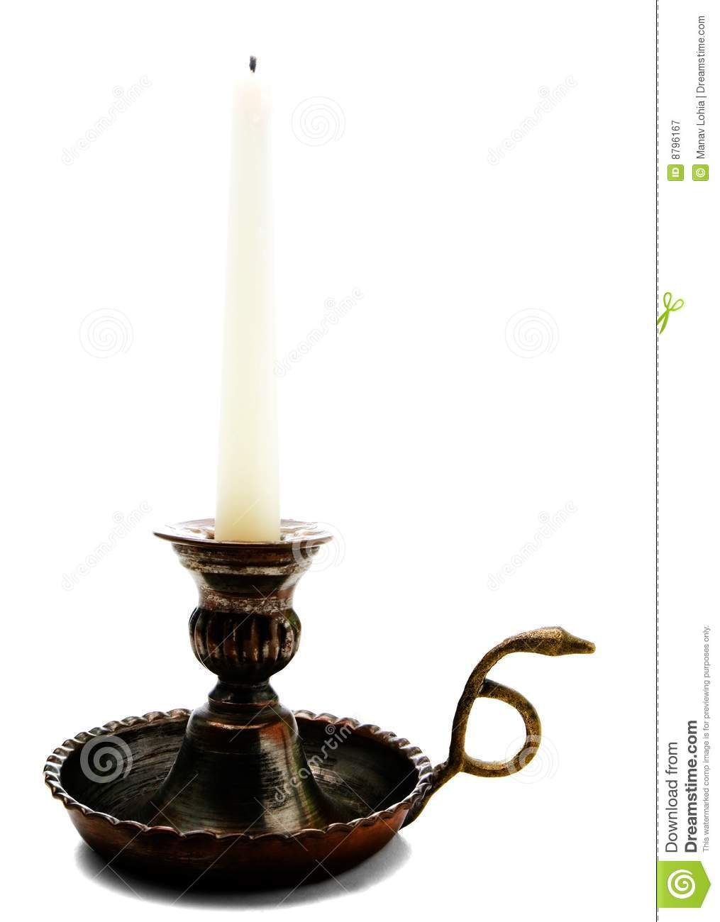 Candle on candle stick holder