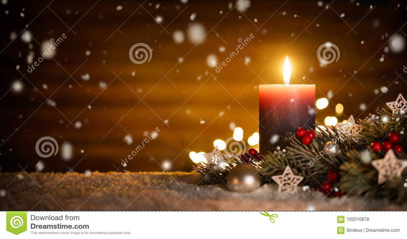 Candle and christmas decoration with wooden background and snow stock photo image 102010678 for 7 candle christmas decoration