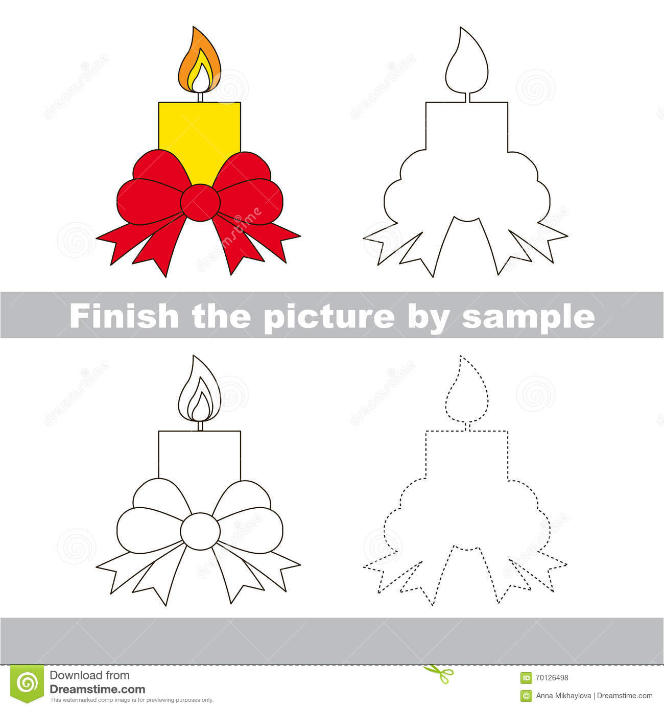 candle drawing worksheet stock vector image 70126498. Black Bedroom Furniture Sets. Home Design Ideas