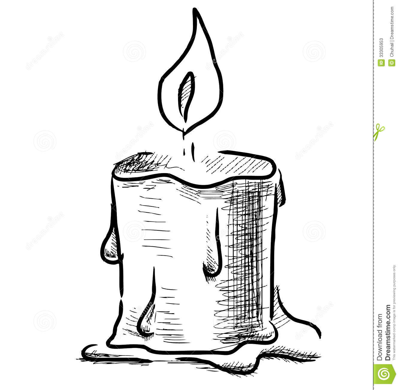 Candle with fire on white background sketch vector illustration.