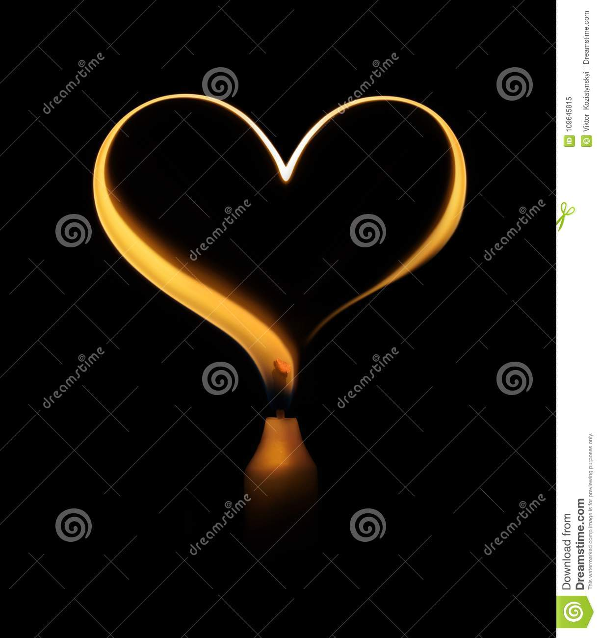Candle Flame In The Form Of A Heart Stock Image Image Of Darkness