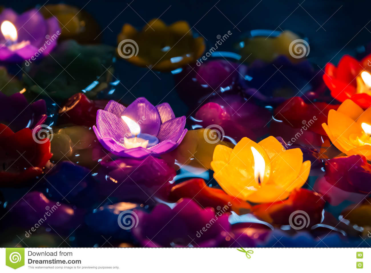 Candle flowers colorful,Beatiful loy krathong day