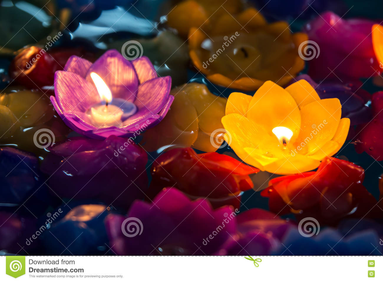Candle flowers violet and yellow colorful,Beatiful in loy krathong day
