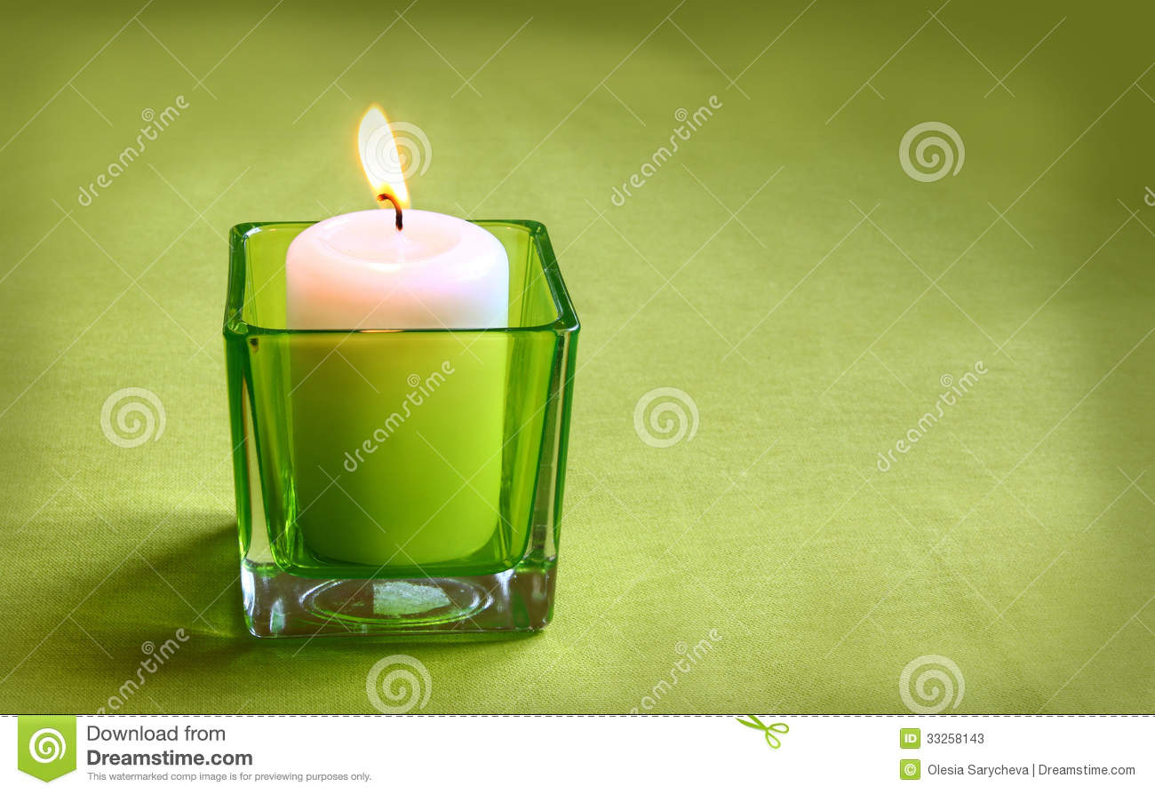 A Candle In Glass Lamp On A Green Background Stock Image Image 33258143