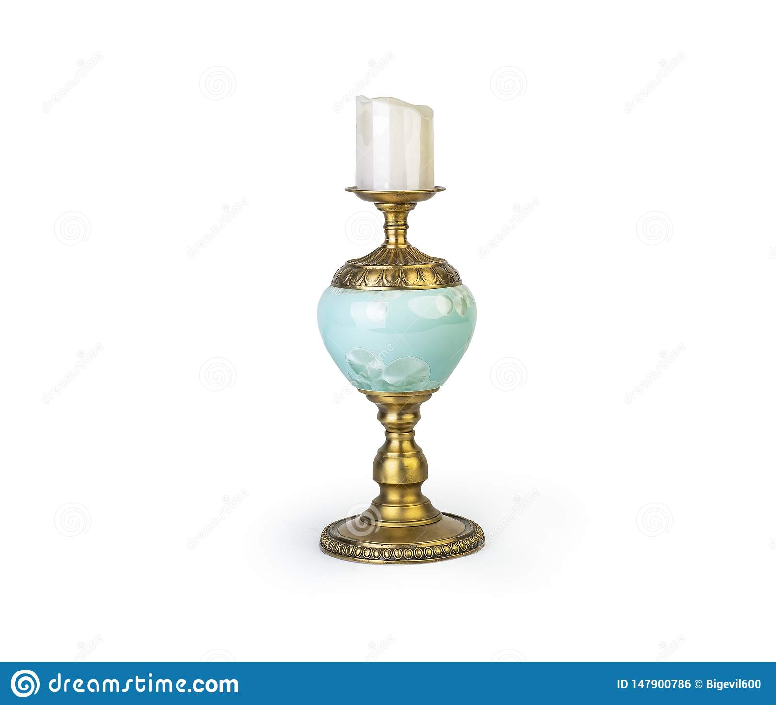 Candle in Golden candlestick, Classic Candleholder isolated on white