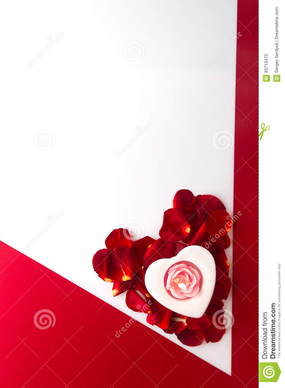 Candle Heart On The Heart Of Rose Petals Corner Red White Backgr Stock Photo