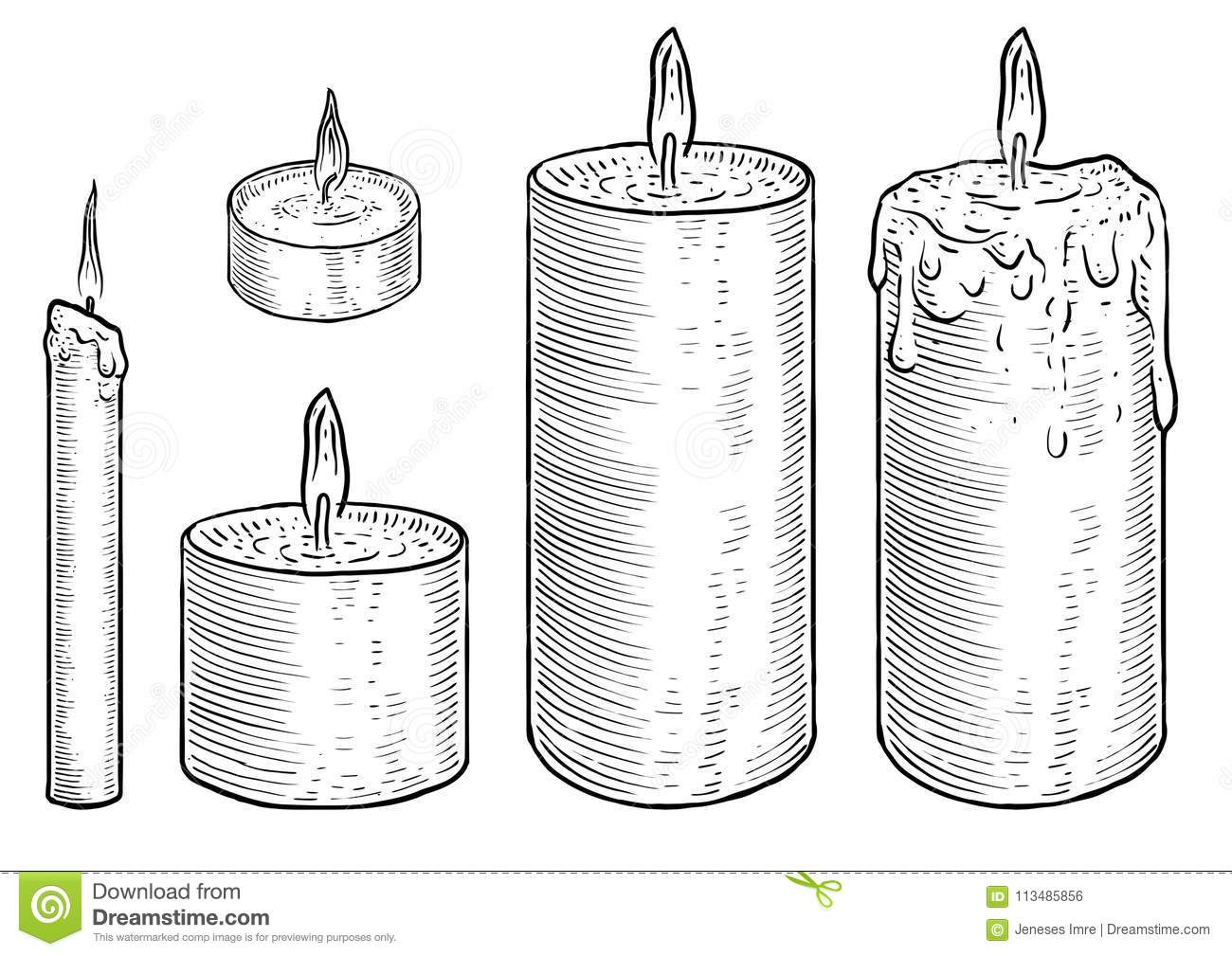 candle illustration drawing engraving ink line art vector stock