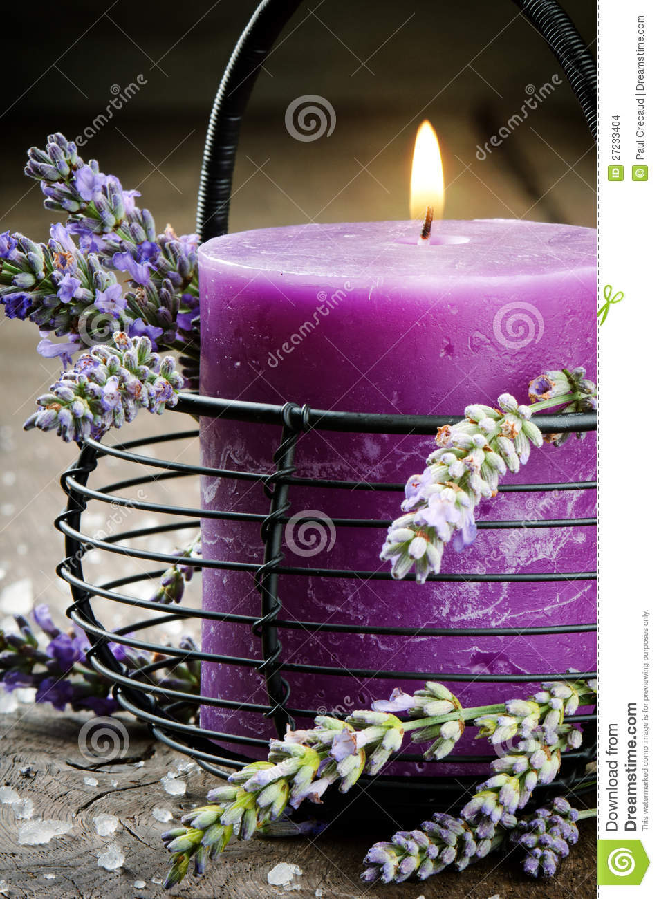 Candle With Lavender Flowers Stock Images - Image: 27233404