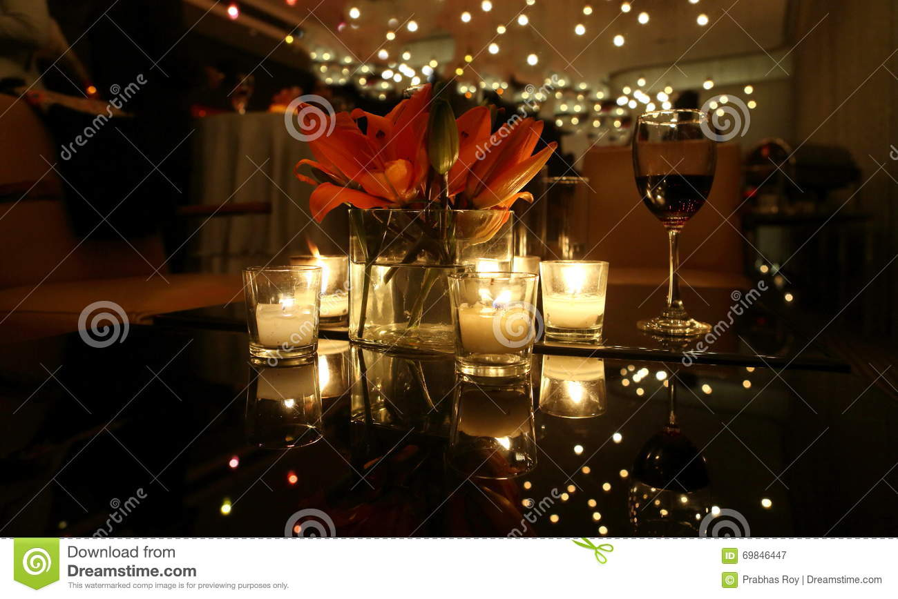 Download CANDLE LIGHT DINNER TABLE Stock Image. Image Of Glass   69846447
