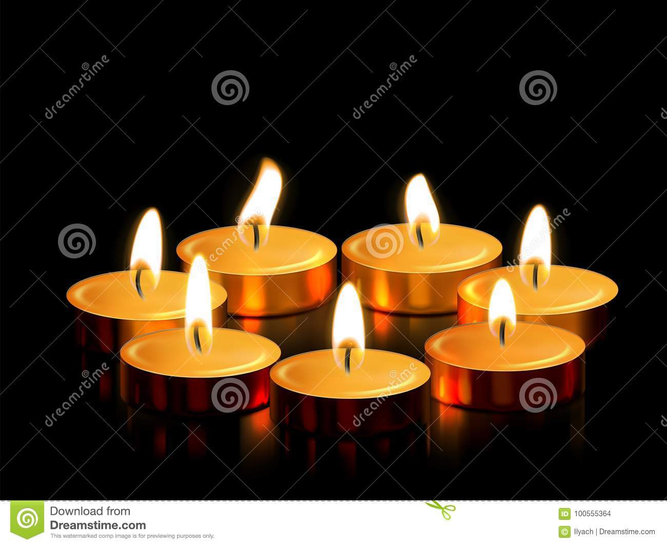 Candle Light Or Golden Candle Decoration Of Burning Flame For Spiritual  Magic Ceremony Or Witchcraft Religious Rite, Diwali Festival, Birthday Or  Wedding.