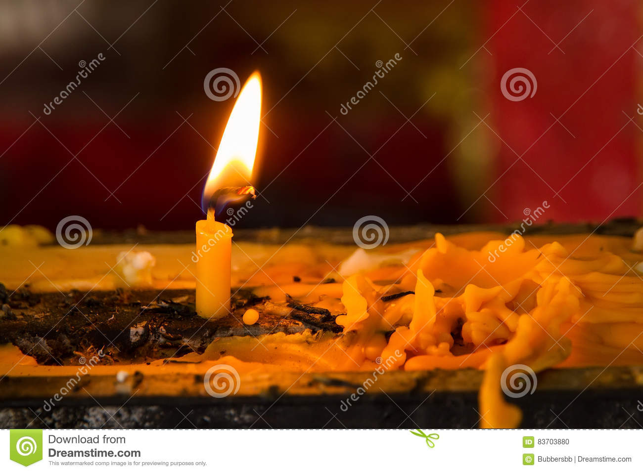 Candle Light Heart And Candle Drippings. Stock Photo