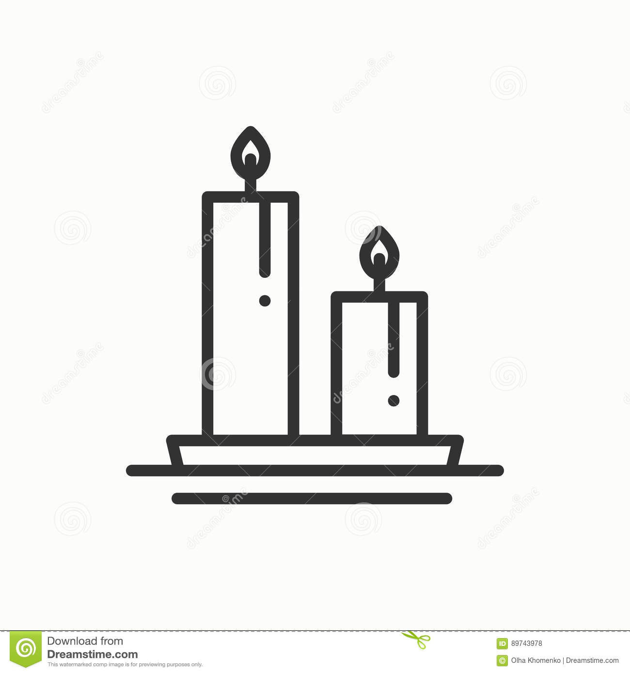Candle Line Outline Icon  Two Burning Candles With A Bright