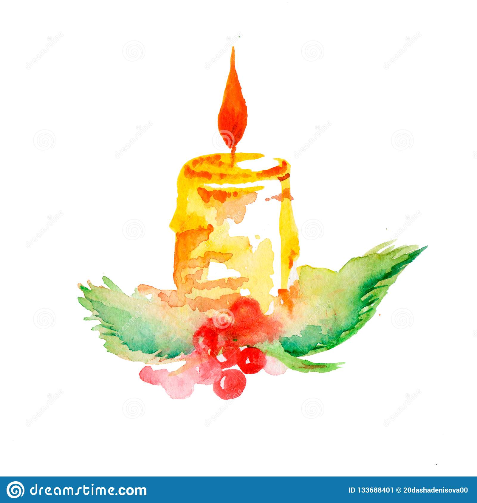 Christmas candle watercolor