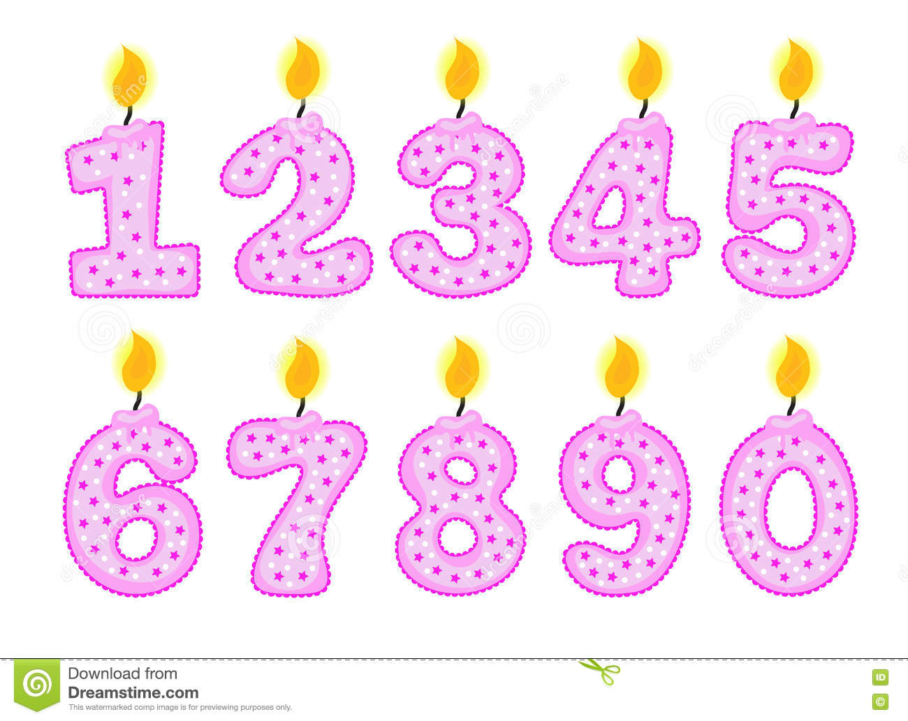 Candle Number Set  Illustration Of Birthday Candles Stock