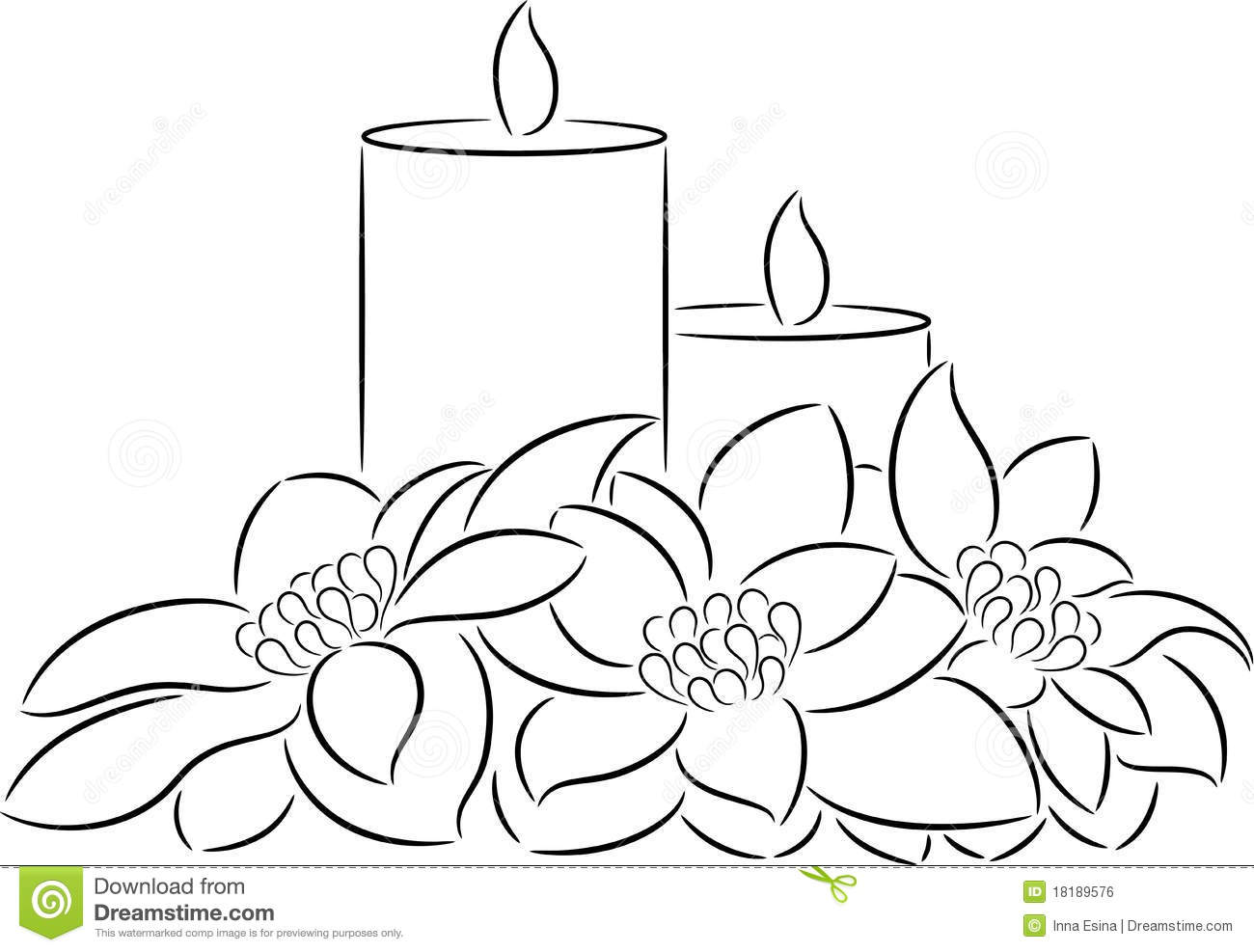 candle and poinsettia stock vector image of season
