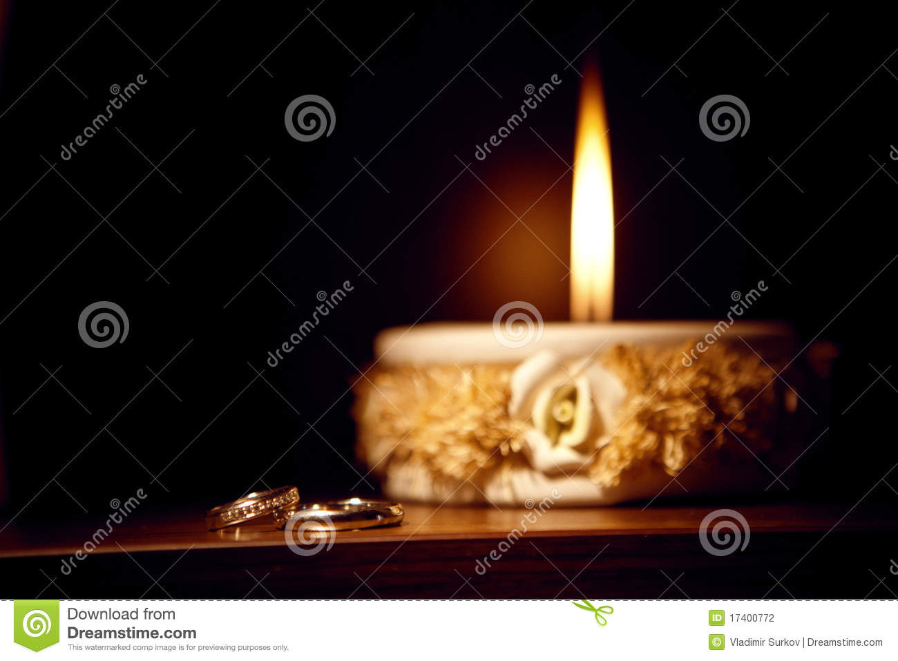 Candle and rings