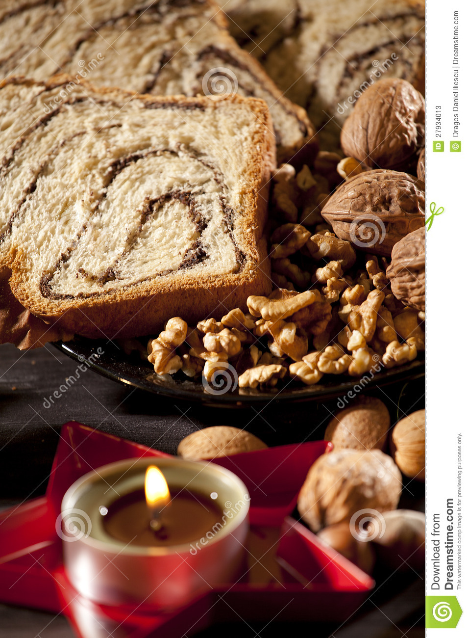 Candle And Sponge Cake Stock Photos - Image: 27934013