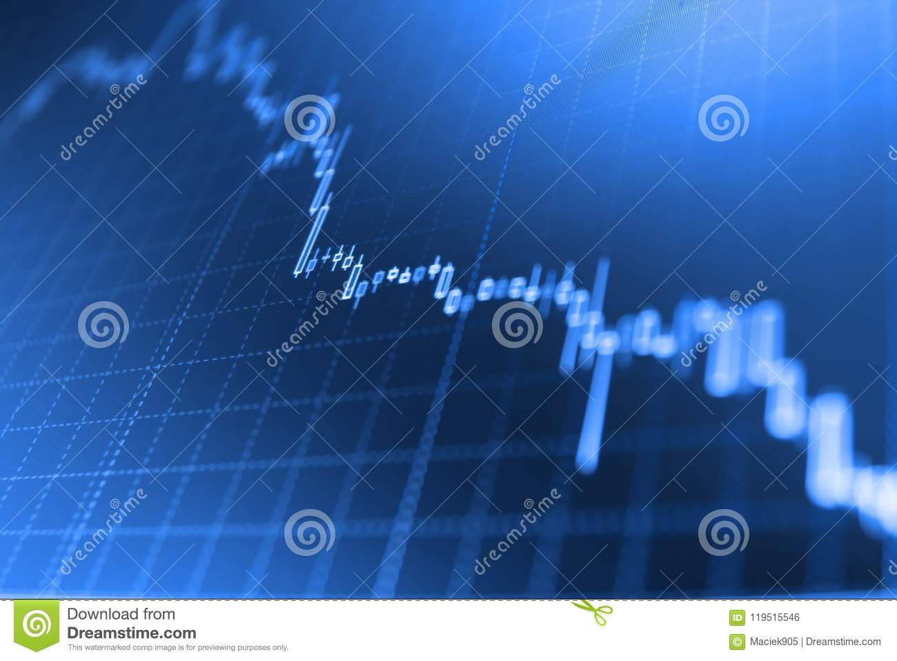 Candle stick graph chart of stock market investment trading.