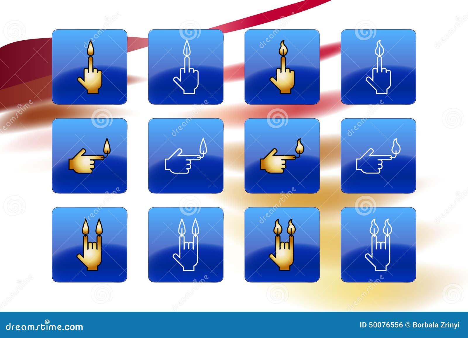 Candle Web Icon Middle Finger Arm Devil Set Button Vector ...