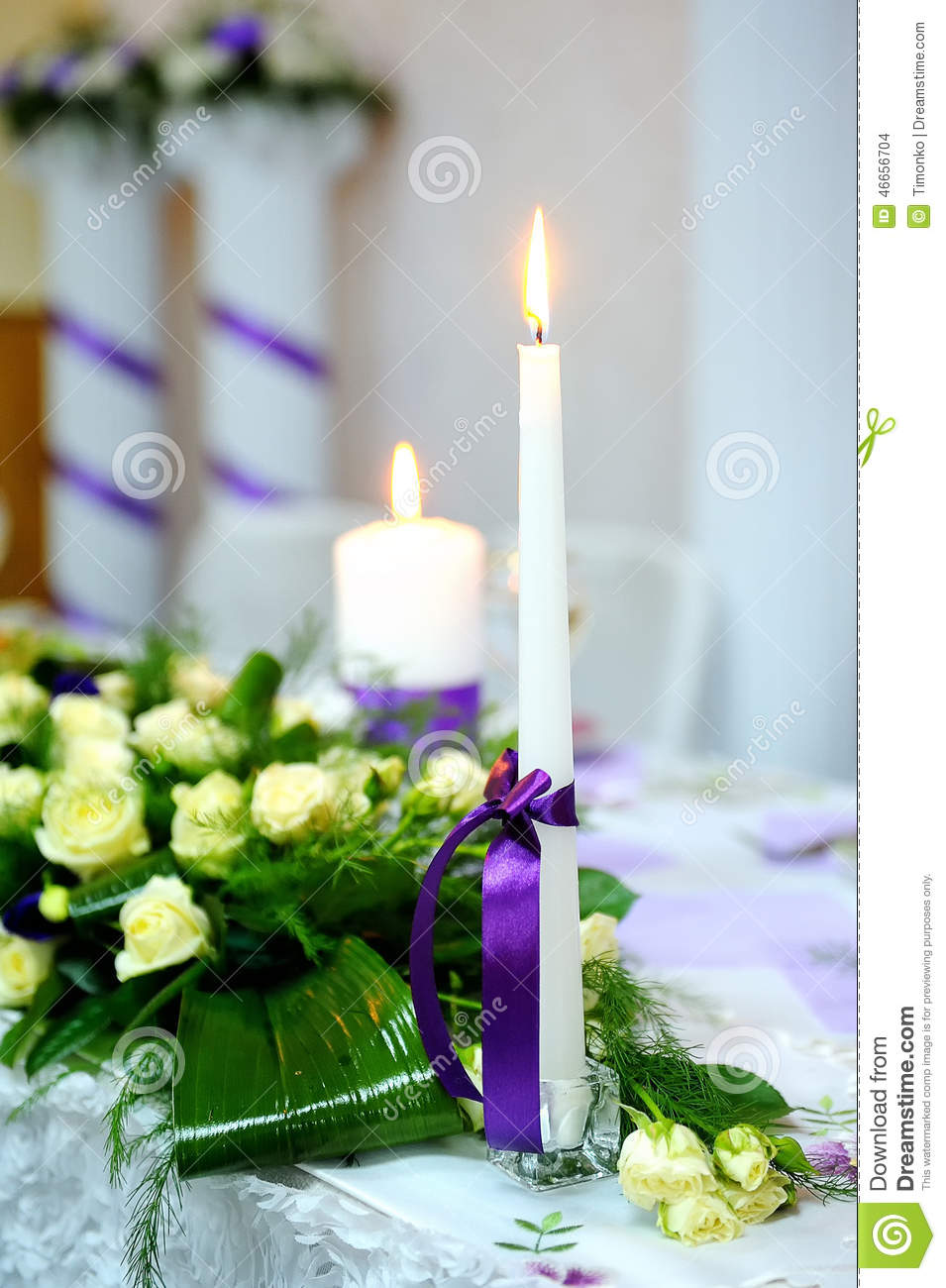 Candle Wedding Decorations Purple Ribbon Stock Photo Image Of