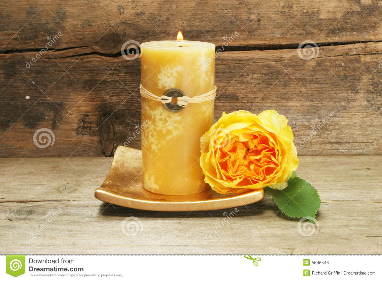 Candle And Yellow Rose Stock Photo Image Of Candle Shui