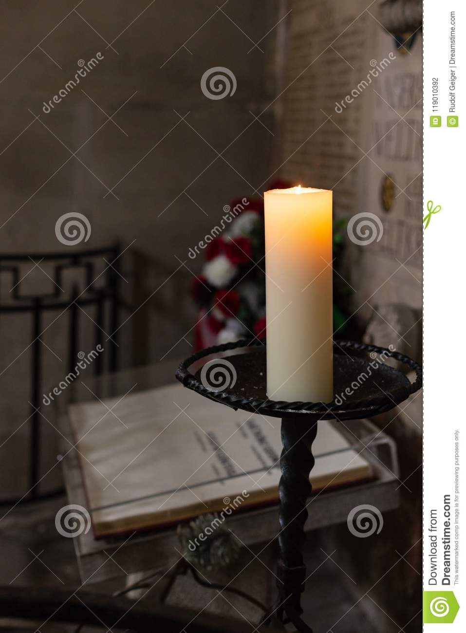 Candlelight In Church Nave Altar Stock Photo - Image of christian