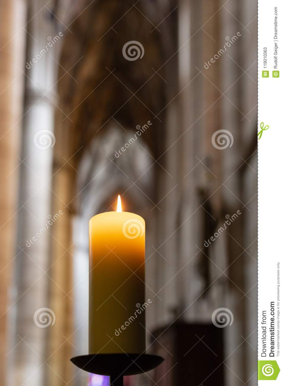 Candlelight In Church Nave Altar Stock Image - Image of flame, love