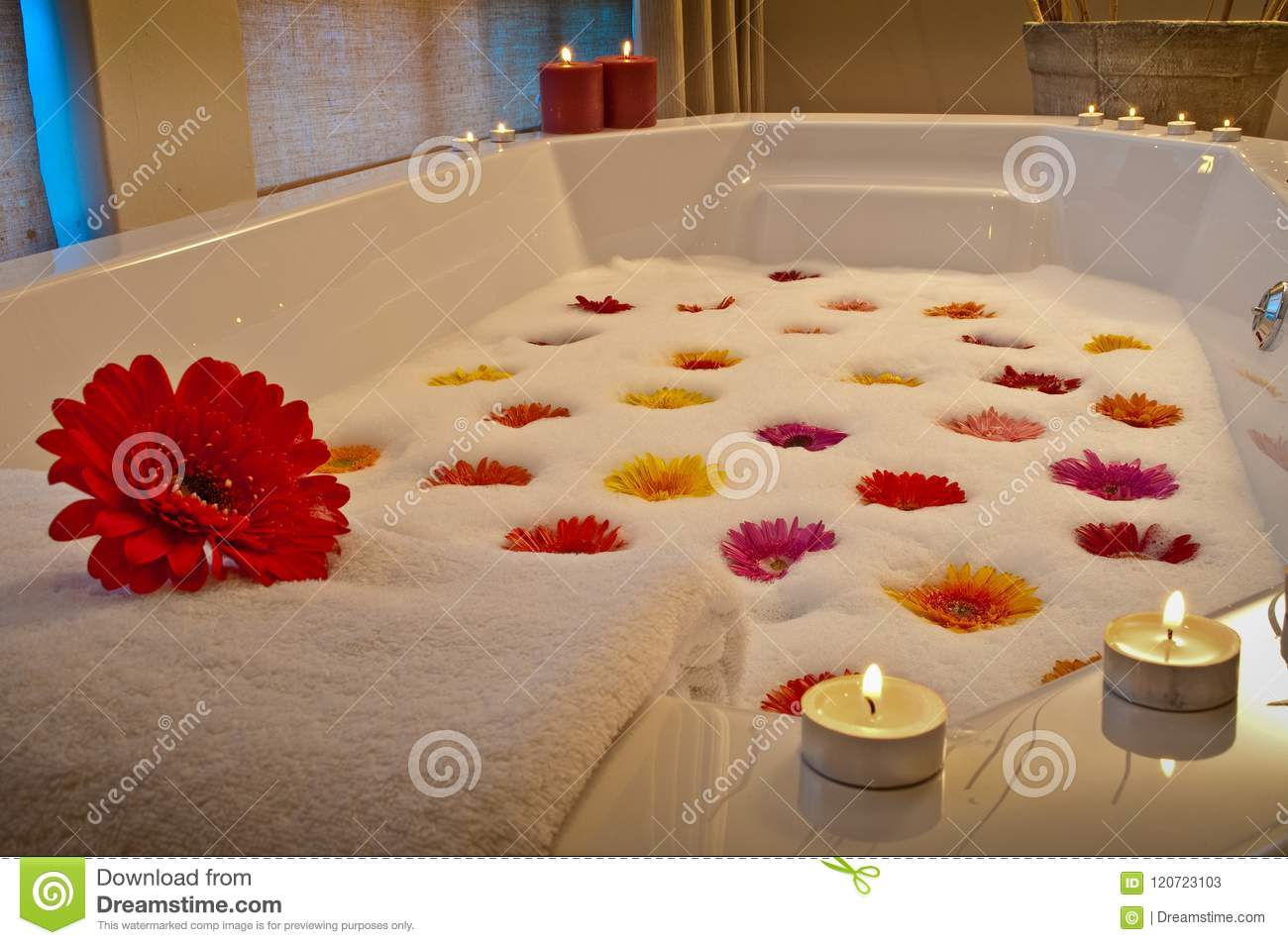 Candlelit Bath In Health Spa With Flowers Stock Image - Image of ...