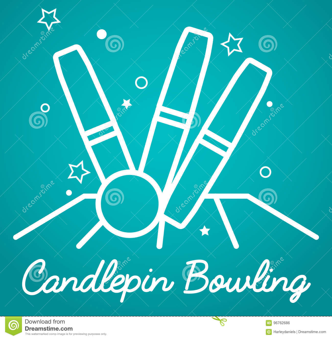 Candlepin Bowling, Simple Illustration Stock Illustration