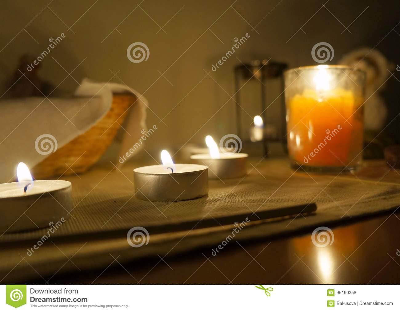 Candles on the altar stock photo  Image of magical, magic - 95190358