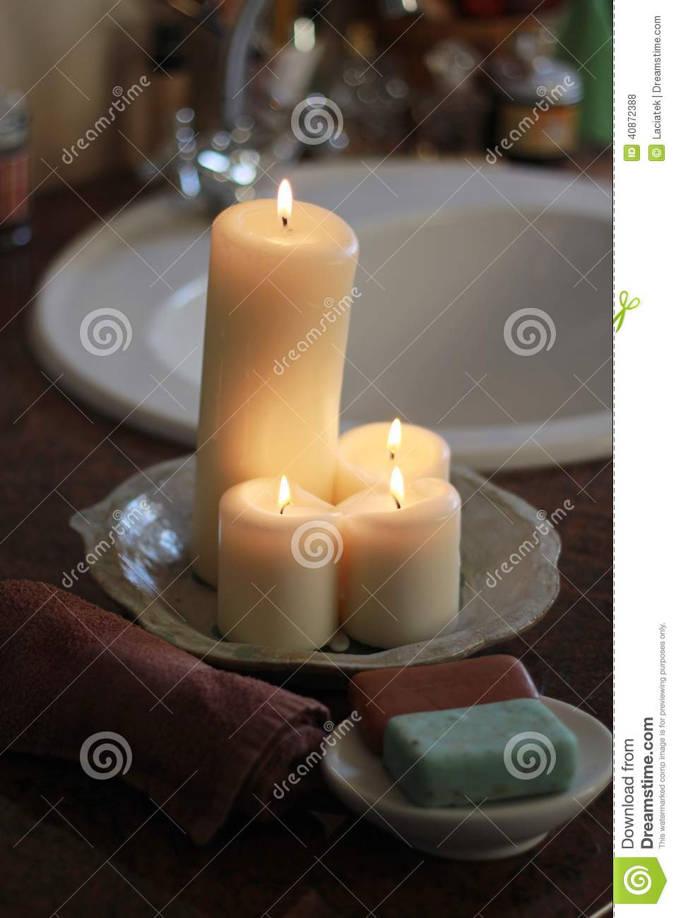Candles In The Bathroom Stock Photo Image 40872388