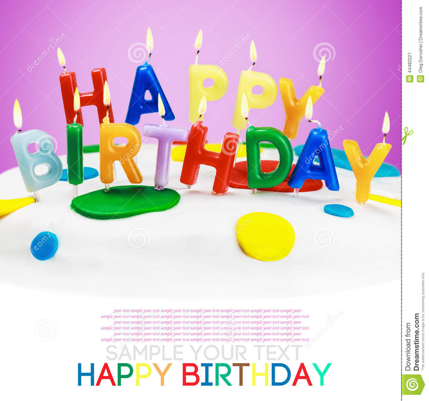 Lighted Candles On A Birthday Cake Bottom White Space For Text Or Congratulations Font From Open Sources Free License Of Use