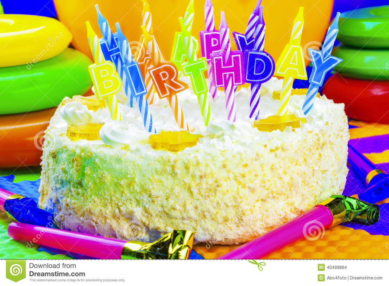 Candles On The Birthday Cake Stock Photo Image Of Green Burning