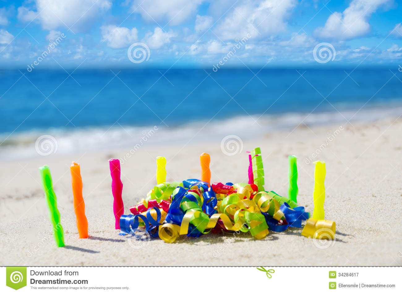Candles With Birthday Decorations On The Beach Royalty Free Stock
