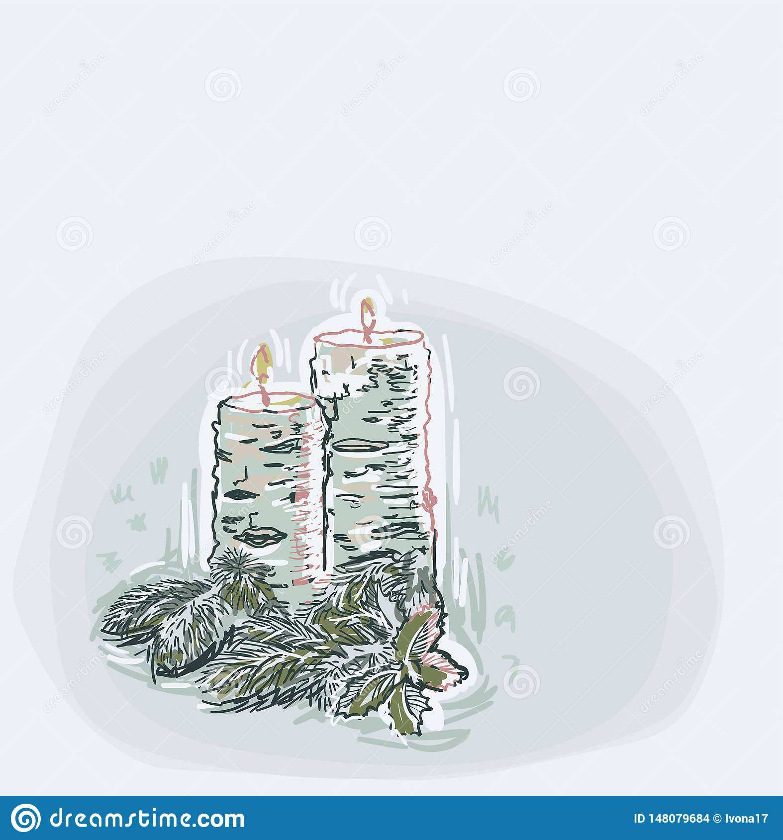 Candles blue vector christmas card background soft color pastel paint style