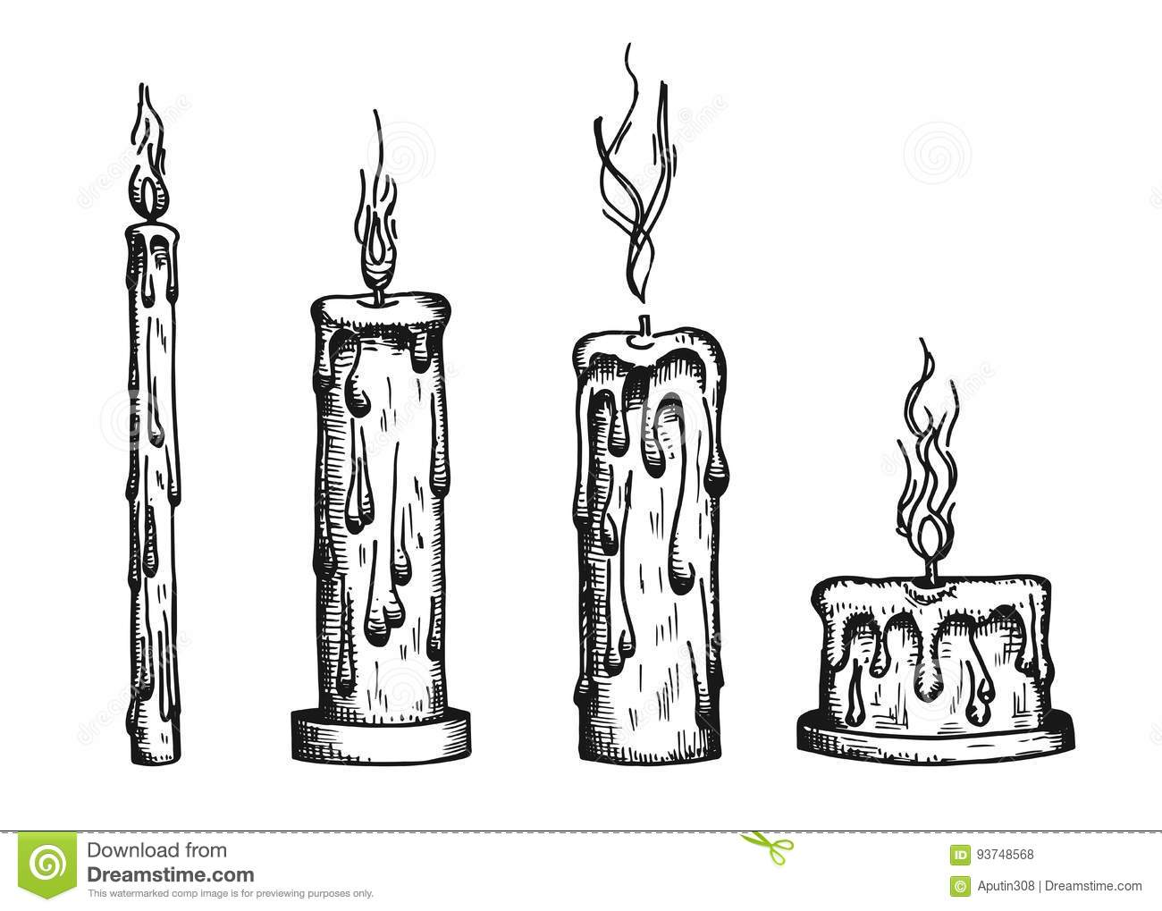 The Candles Are Burning Vector Vintage Sketch Stock Vector Illustration Of Christmas Background 93748568