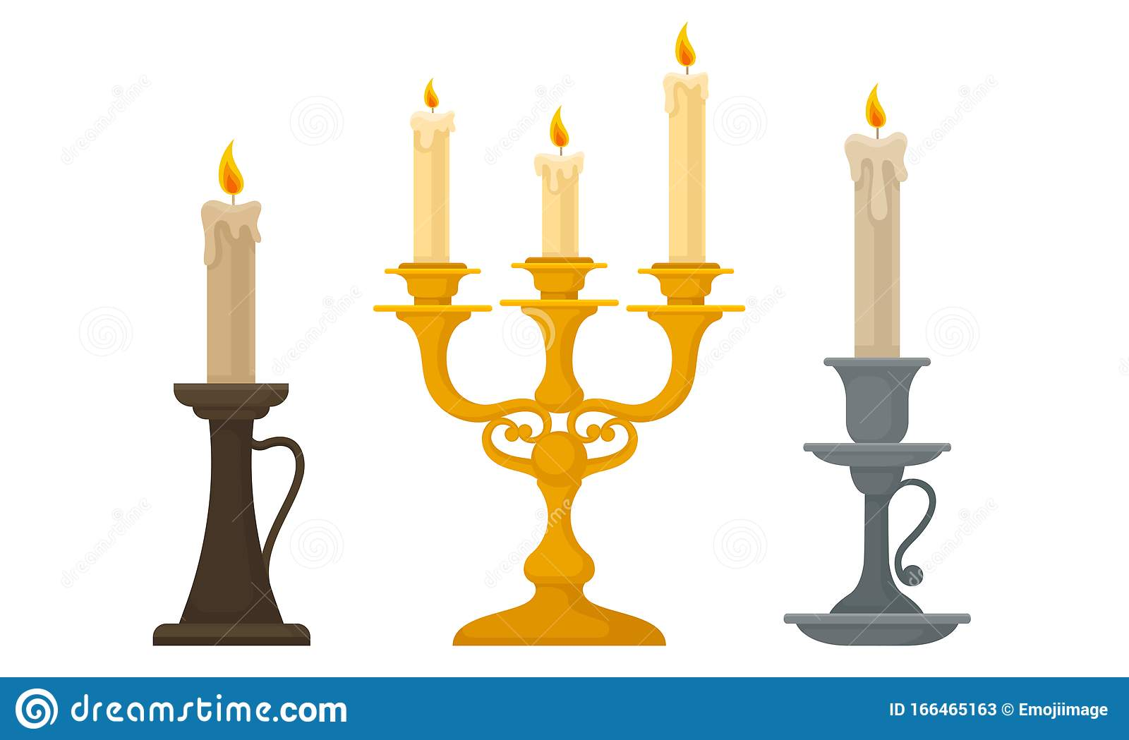 Candles In Candlesticks Vector Set Vintage Candle Holders And Candelabrums Stock Vector Illustration Of Burn Candlestick 166465163