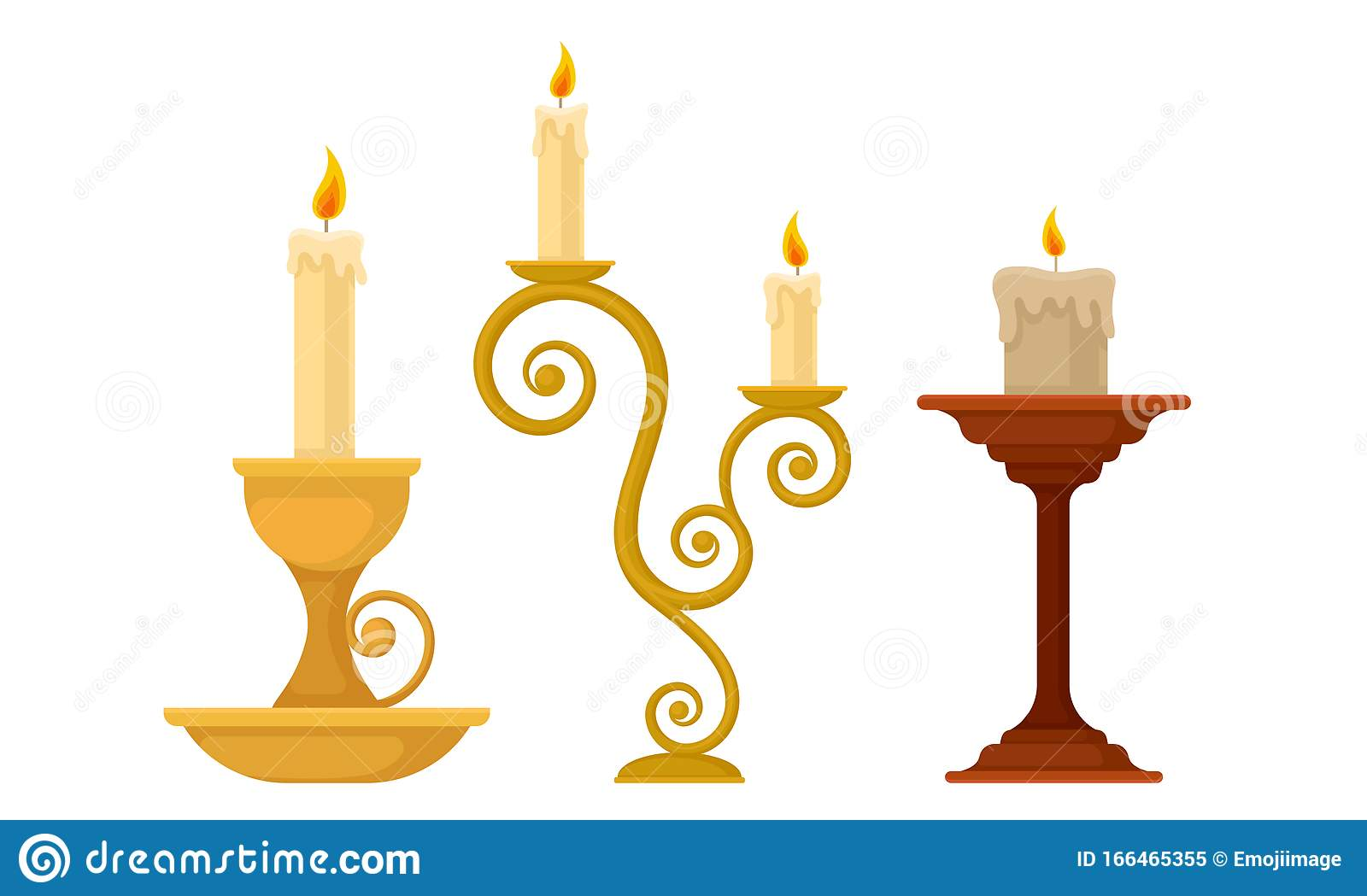 Candles In Candlesticks Vector Set Vintage Candle Holders And Candelabrums Stock Vector Illustration Of Candlestick Candlelight 166465355