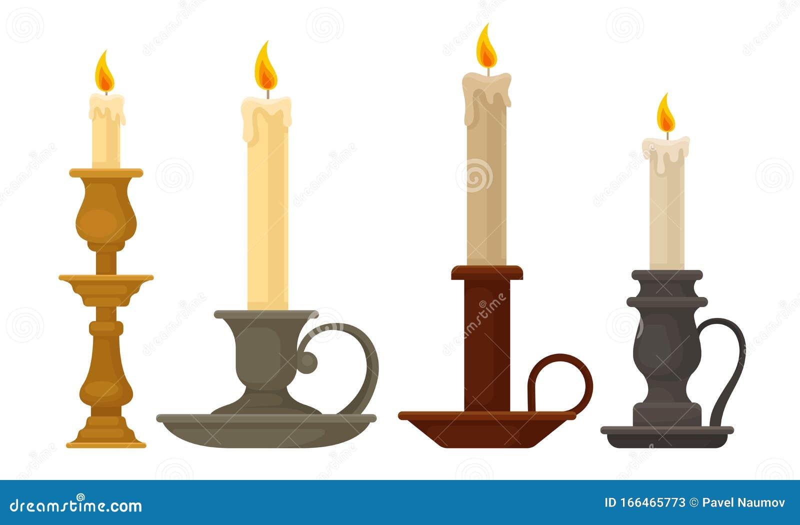 Candles In Candlesticks Vector Set Vintage Candle Holders And Candelabrums Stock Vector Illustration Of Light Design 166465773
