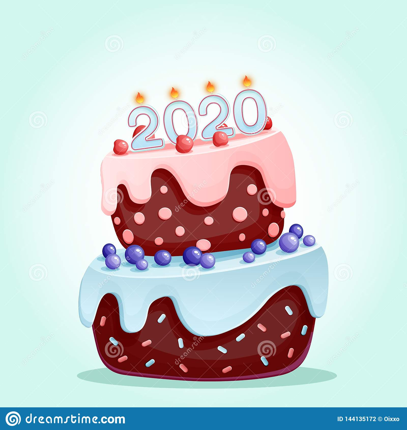 2020 candles on a festive cake. Happy New Year 2020 vector illustration isolated. Merry Christmas and happy New Year vector design