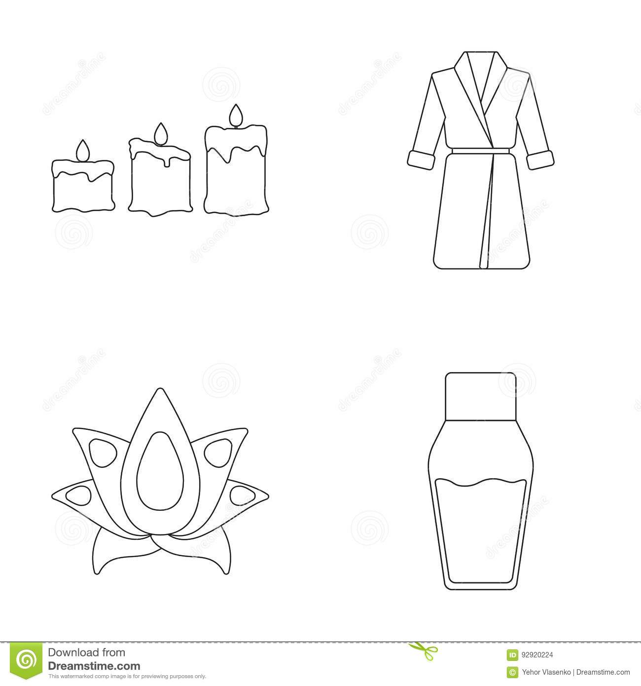 Candles With A Flame A Robe With A Belt A Lotus Flower With Petals