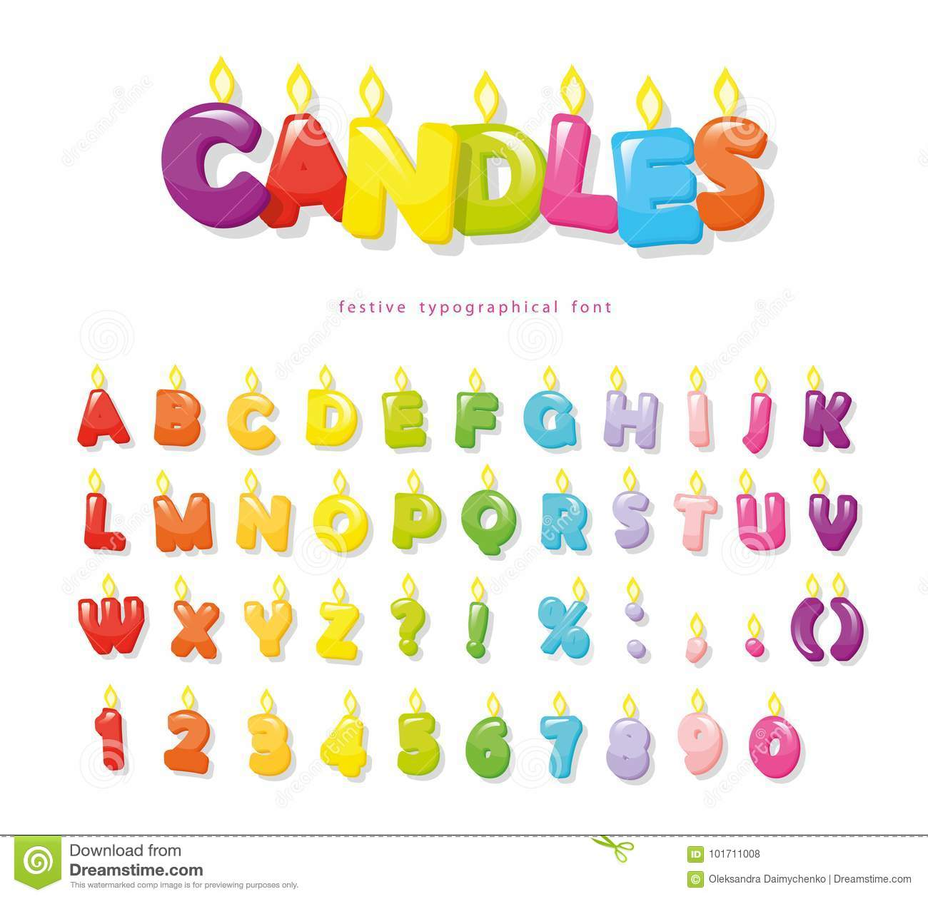 Candles Font Festive Cartoon Letters And Numbers For Birthday Or Other Design