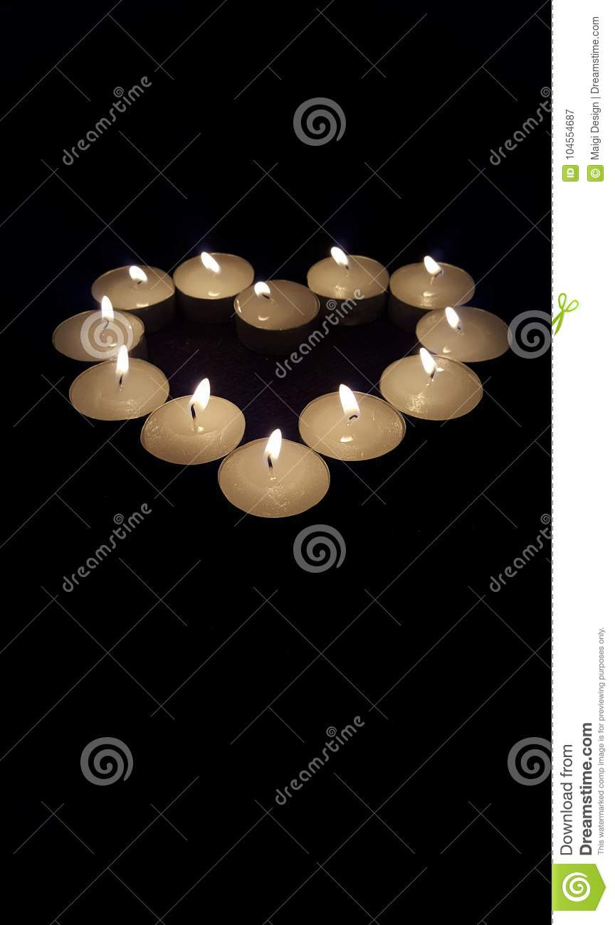Download Candles in heart shape stock image. Image of remember - 104554687